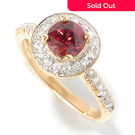 126-948 - Gem Treasures 14K Gold Multi Color Zircon Halo Ring