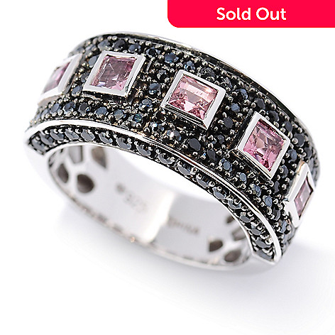 126-949 - Gem Treasures® 1.77ctw Pink Tourmaline & Black Spinel Pave Band Ring