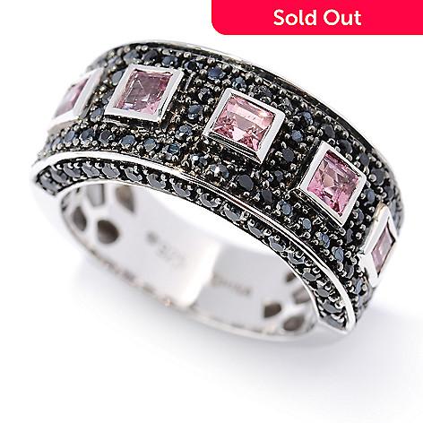 126-949 - Gem Treasures 1.77ctw Pink Tourmaline & Black Spinel Pave Band Ring
