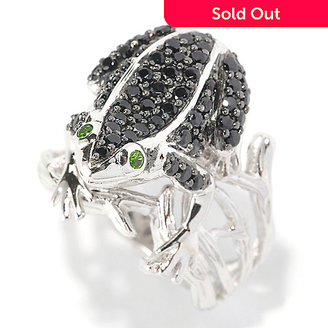 126-950 - Gem Treasures Sterling Silver 1.22ctw Black Spinel & Chrome Diopside Frog Ring