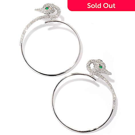126-957 - EFFY 14K White Gold 1.19ctw Diamond & Emerald Front Hoop Swan Earrings