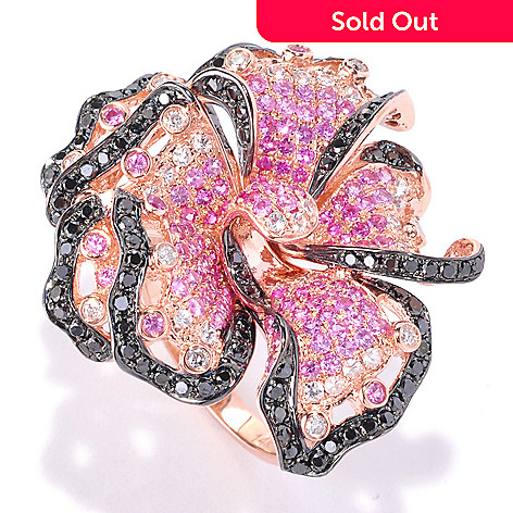 126-971 - EFFY 14K Rose Gold 2.58ctw Diamond, Pink Sapphire & Ruby Flower Ring