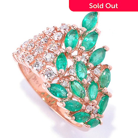 126-972 - EFFY 14K Rose Gold 2.15ctw Marquise Shaped Emerald & Diamond Ring