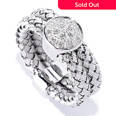 126-973 - EFFY Sterling Silver 0.04ctw Diamond Woven Duo ''Balissima'' Ring