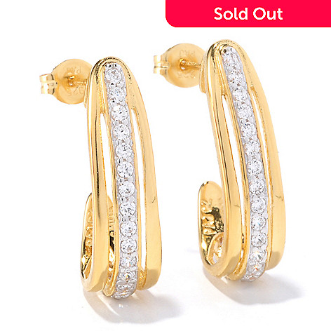 126-976 - Désoro™ Gold Embraced™ Brilliante® Round J Hoop Earrings