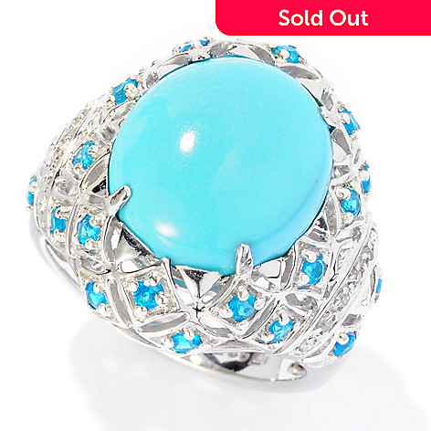 126-978 - Gem Insider™ Sterling Silver 14 x 12mm Oval Sleeping Beauty Turquoise, Apatite & Diamond Ring