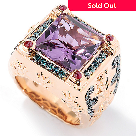 126-979 - Dallas Prince 5.91ctw Princess Cut Amethyst, Ruby & Blue Diamond Ring