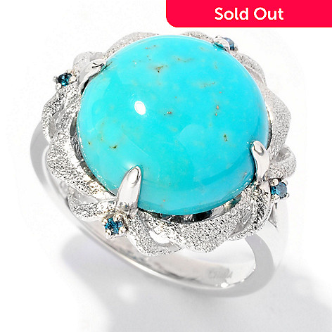 126-981 - Gem Insider® Sterling Silver 13mm Turquoise & Blue Diamond Textured Ring