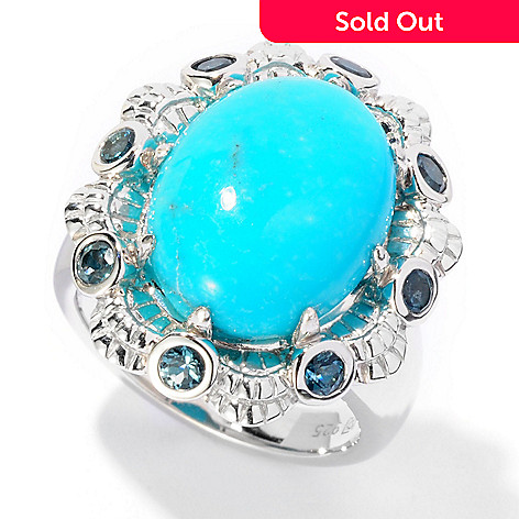 126-982 - Gem Insider Sterling Silver 15 x 12mm Oval Turquoise & Topaz Ring