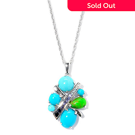 126-985 - Gem Insider™ Sterling Silver 5.80ctw Turquoise & Gemstone ''X'' Pendant w/ Chain