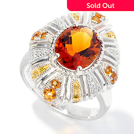 126-988 - Gem Insider® Sterling Silver 2.38ctw Madeira Citrine & Diamond Ring