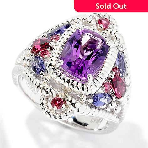 126-990 - Gem Insider™ Sterling Silver 2.48ctw Cushion Cut Amethyst, Garnet & Iolite Ring