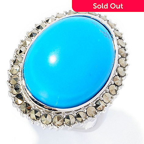 126-993 - Gem Insider™ Sterling Silver 16 x 21mm Oval Turquoise & Marcasite Ring