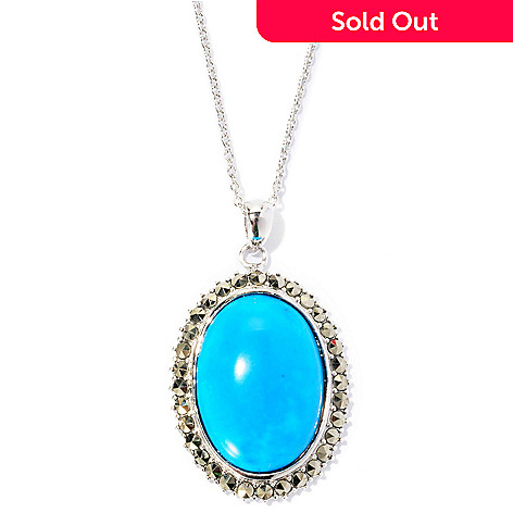 126-994 - Gem Insider Sterling Silver 16 x 21mm Oval Turquoise & Marcasite Pendant w/ Chain