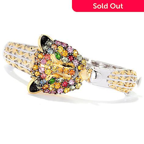 126-996 - Gems en Vogue 4.14ctw Multi Sapphire & Chrome Diopside Panther Bracelet