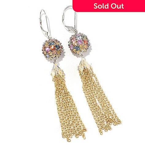 126-998 - Gems en Vogue 5.76ctw Multi Sapphire Bead & Chain Tassel Earrings