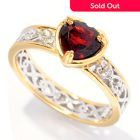 127-001 - Gems en Vogue 1.10ctw Garnet & Sapphire Heart Cut Stack Ring
