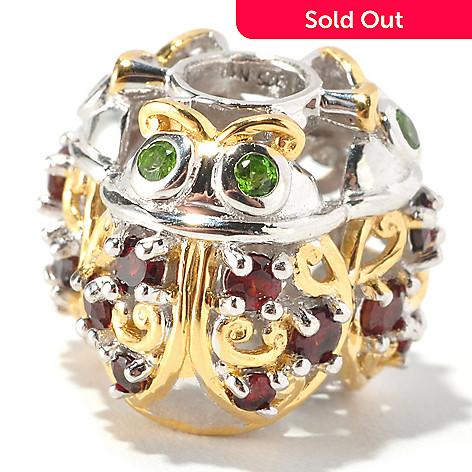 127-005 - Gems en Vogue Garnet & Chrome Diopside Ladybug Charm