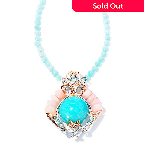 127-012 - Gems en Vogue II 20mm Amazonite, Opal & Zircon Enhancer Pendant w/ 18'' Necklace