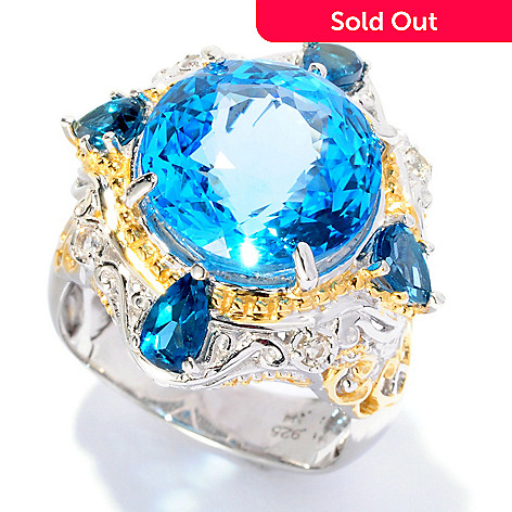 127-015 - Gems en Vogue 7.50ctw Swiss Blue Topaz, London Blue Topaz & Sapphire Ring