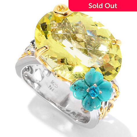 127-018 - Gems en Vogue 11.09ctw Ouro Verde, Turquoise, Apatite & Sapphire Ring