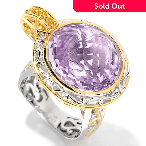 127-019 - Gems en Vogue 12.53ctw Amethyst & Sapphire ''Pink Lemonade'' Ring