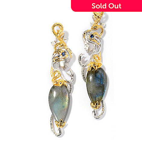 127-029 - Gems en Vogue II 20 x 10mm Labradorite & Sapphire Mermaid Drop Earrings