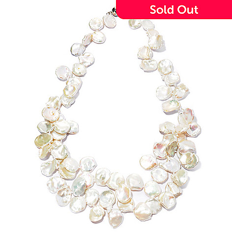 127-040 - Sterling Silver 22'' 14-15mm White Keshi Freshwater Cultured Pearl Nested Necklace