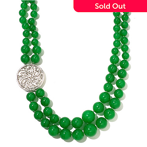 127-043 - Sterling Silver 23'' Green Jade Double Row Necklace w/ Medallion