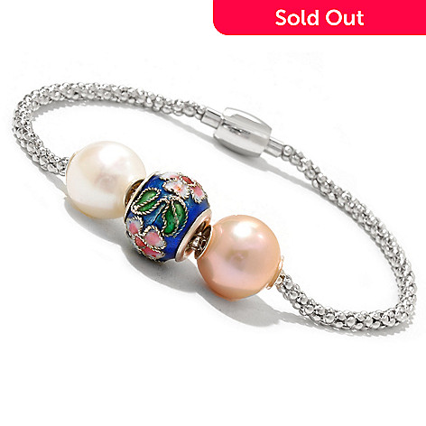 127-045 - Sterling Silver Freshwater Cultured Pearl & Charm Magnetic Clasp Bracelet
