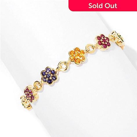 127-050 - Omar Torres 6.56ctw Multi Gemstone Flower Link Bracelet