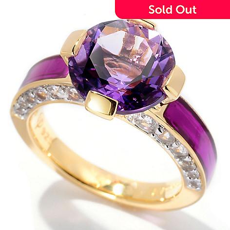 127-051 - Omar Torres 3.49ctw Amethyst, White Sapphire & Purple Enamel Ring
