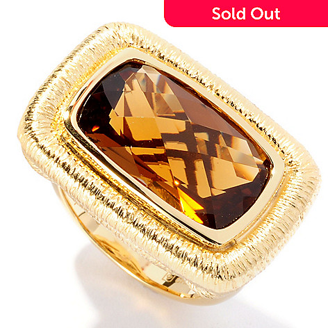 127-058 - Michelle Albala 8.28ctw Checkerboard Cut Honey Citrine Ring