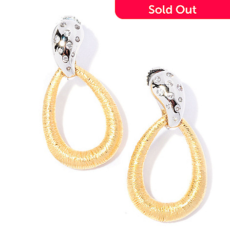 127-062 - Michelle Albala White Sapphire Brushed Hoop Drop Earrings