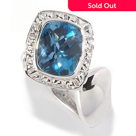 127-066 - Michelle Albala 3.27ctw London Blue Topaz & White Sapphire Bypass Ring