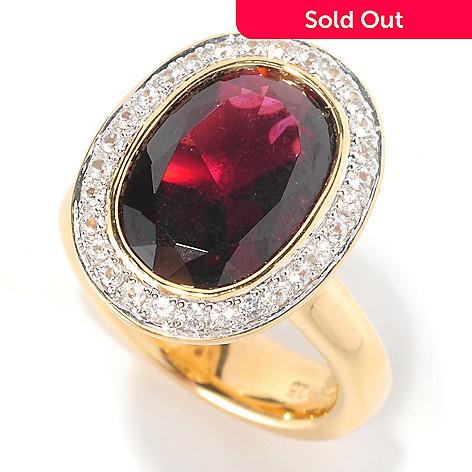 127-067 - Michelle Albala 5.23ctw Brazilian Garnet & White Sapphire Ring