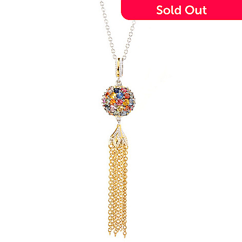 127-073 - Gems en Vogue 4.48ctw Multi Sapphire Bead & Chain Tassel Pendant