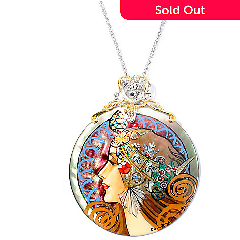 127-074 - Gems en Vogue 50mm Hand-Painted Mother-of-Pearl Maiden Warrior Pendant w/ Chain