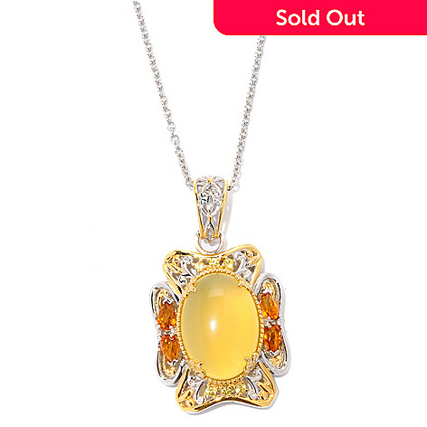 127-075 - Gems en Vogue 18 x 13mm Yellow Opal, Citrine & Sapphire Pendant w/ Chain