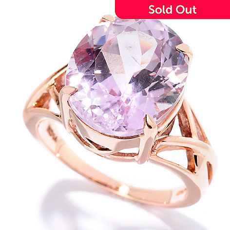 127-080 - Gem Treasures® 14K Rose Gold 8.00ctw Oval Kunzite Interlaced Ring