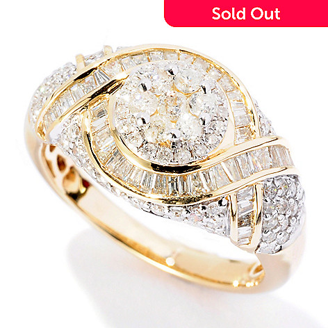 127-081 - Diamond Treasures 14K Gold 1.18ctw Round & Baguette Cut Diamond Ring