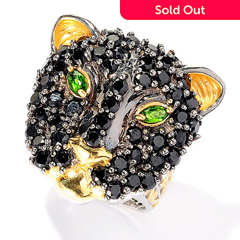 127-086 - Gems en Vogue 4.08ctw Black Spinel & Chrome Diopside Panther Ring