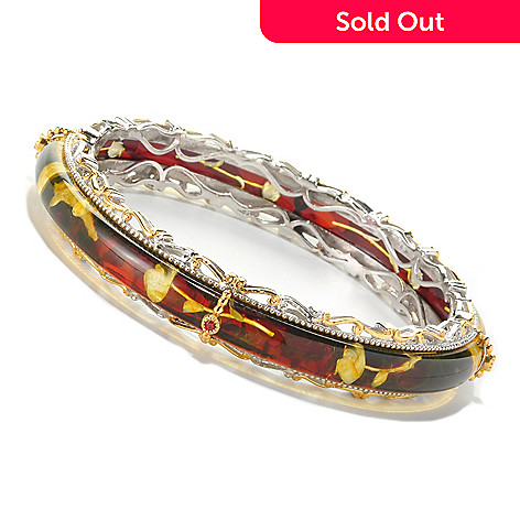 127-087 - Gems en Vogue 7mm Carved Amber Rose Intaglio & Orange Sapphire Bangle Bracelet