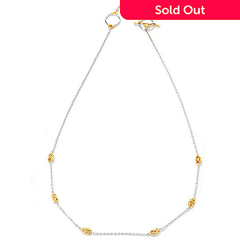 127-090 - Gems en Vogue 20'' Two-tone Station Toggle Necklace