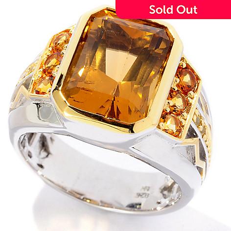 127-091 - Men's en Vogue 6.25ctw Whiskey Quartz, Madeira Citrine & Sapphire Ring