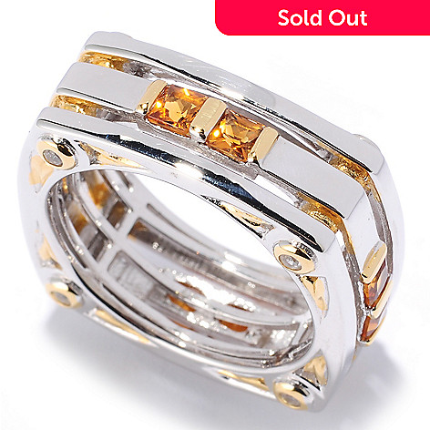 127-092 - Men's en Vogue 1.52ctw Madeira Citrine & White Sapphire Eternity Band Ring