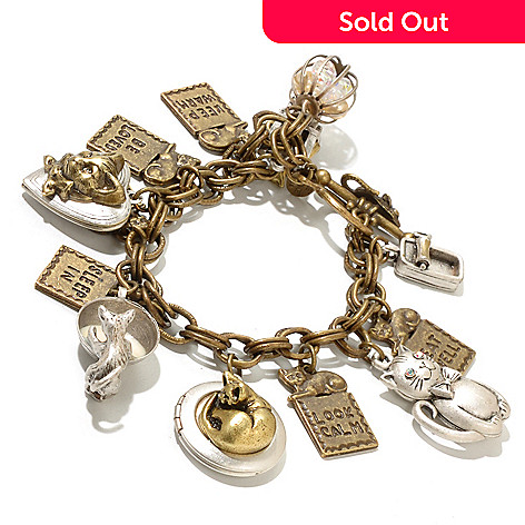 127-094 - Sweet Romance™ Gold-tone 6.5'' ''Things I Learned From My Cat'' Charm Bracelet