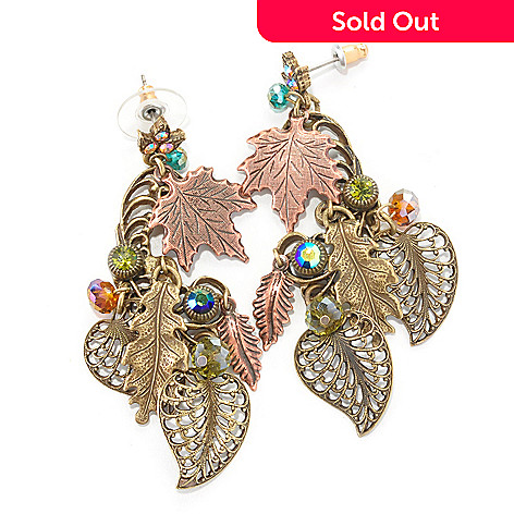 127-096 - Sweet Romance™ Gold-tone 32'' Multi Strand Crystal Bead Leaves Earrings