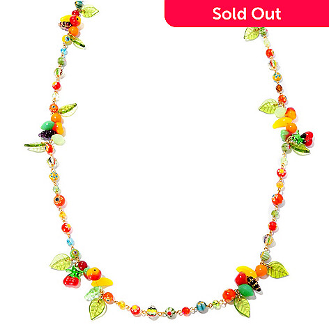 127-099 - Sweet Romance 52'' 1940s Inspired ''Fruit Salad'' Station Necklace