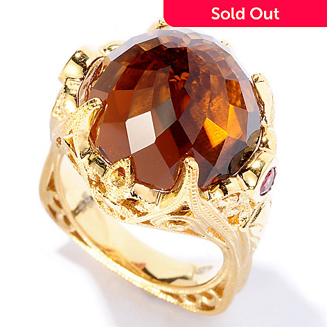 127-102 - Dallas Prince 15.58ctw Cognac Quartz & Orange Sapphire Crown Ring